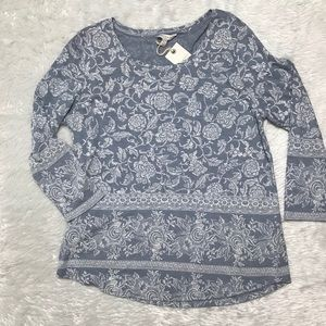 Lucky Brand 3/4 Sleeve Floral Blouse